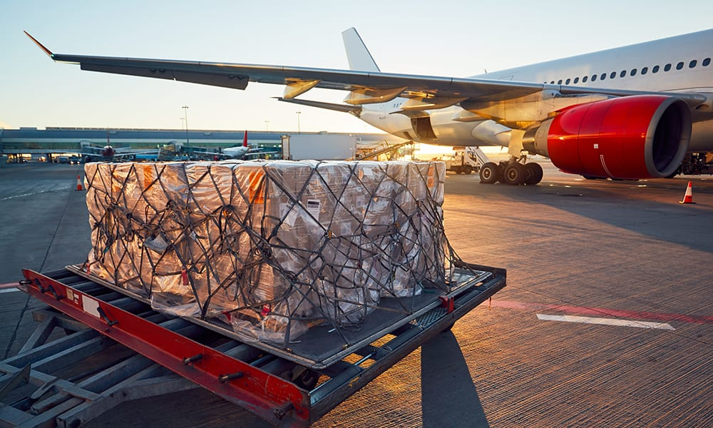 Image of cargo being loaded onto an aeroplane