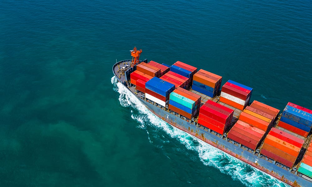 Image of a cargo ship loaded with containers